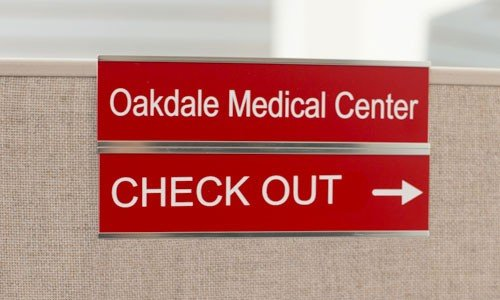 Double cubicle nameplate, sign holder for 2 nameplates is ideal for lobbies and office signs, or dual-occupancy cubicles. NapNameplates.com