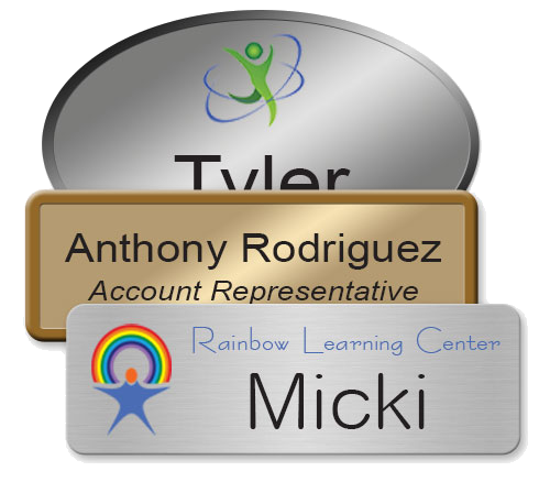 magnetic metal name badges printed in full, vibrant color, scratch-resistant and personalized for your employees