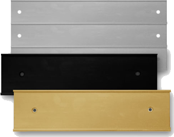 Office nameplate holders for doors and walls are available in many colors and sizes. Durable metal is long-lasting and reusable. NapNameplates.com