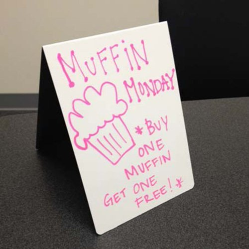 Table to whiteboard signs for offices, businesses, restaurants and more. 5x7 tent signs dry erase easily and are made of durable metal so they're also magnetic. NapNameplates.com