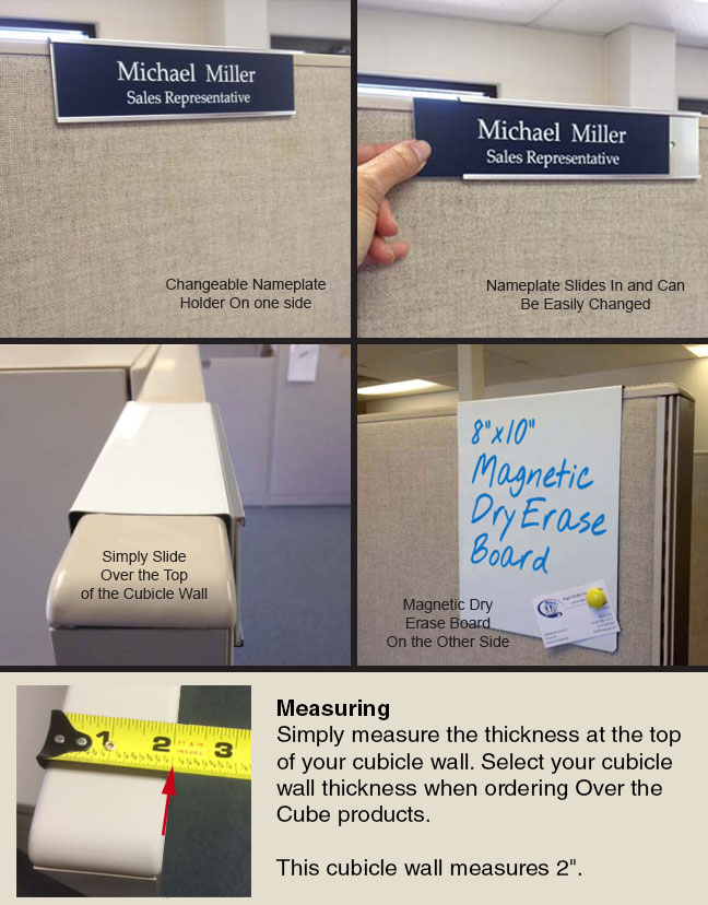 combo nameplate holder and whiteboard options for cubicles