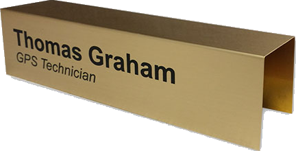 Custom cubicle nameplates, signs and more easily slide over any cubicle wall. Durable metal is color printed and scratch-resistant to easily move anywhere in the office. NapNameplates.com