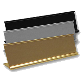 Office nameplate holders for desks in durable metal that's scratch resistant and reusable. Easily slide in any standard size nameplate made of metal or plastic. NapNameplates.com