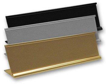 Office nameplate holders for desks are made of durable, scratch-resistant metal for long-lasting reusability. NapNameplates.com