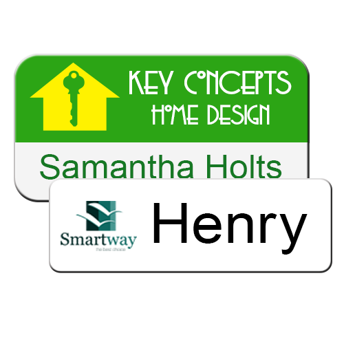 Magnetic plastic name badges printed in full color and personalized for employees. Thick, heavy-duty plastic is scratch resistant. NapNameplates.com