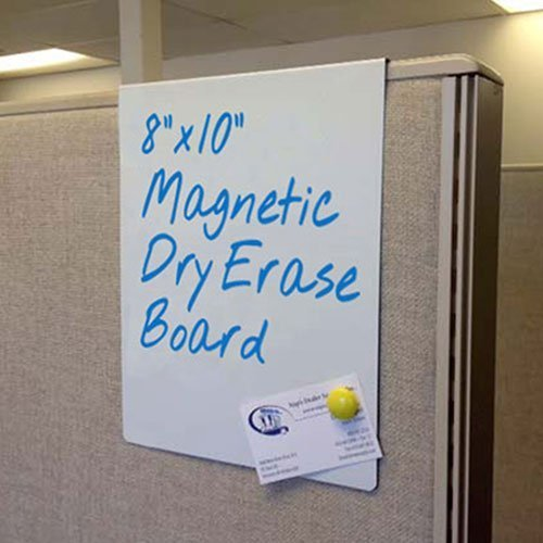 Cubicle whiteboard easily slides over any cubicle wall and moves anywhere without damaging the fabric. Many sizes available. Made of durable metal that erases easily and is also magnetic. NapNameplates.com