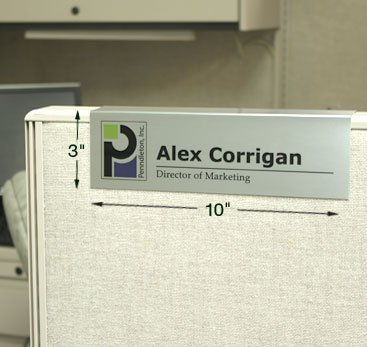 10x3 custom cubicle signs easily slide over any cubicle wall. Color printed with names, titles, logos, graphics and more on durable, scratch-resistant metal. NapNameplates.com